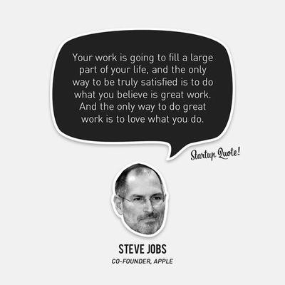 «…ο μόνος τρόπος να κάνετε μια σπουδαία δουλειά είναι να αγαπάτε αυτό που κάνετε…»